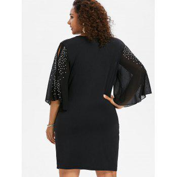 Plus Size Glittery Slit Sleeve Plunging Neck Dress - BLACK 1X