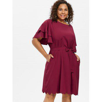 Plus Size Belted Ruffle Dress - RED WINE 2X