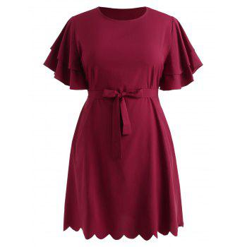 Plus Size Belted Ruffle Dress - RED WINE 4X
