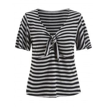 Knot Plunging Neck Striped T-shirt - multicolor M