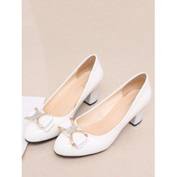 Plus Size Chunky Heel Bowknot Chic Prom Pumps - WHITE 39