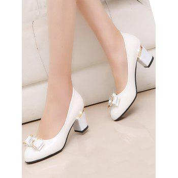 Plus Size Chunky Heel Bowknot Chic Prom Pumps - WHITE 42