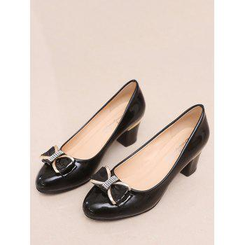 Plus Size Chunky Heel Bowknot Chic Prom Pumps - BLACK 39