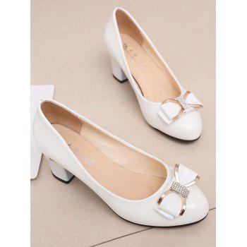 Plus Size Chunky Heel Bowknot Chic Prom Pumps - WHITE 41