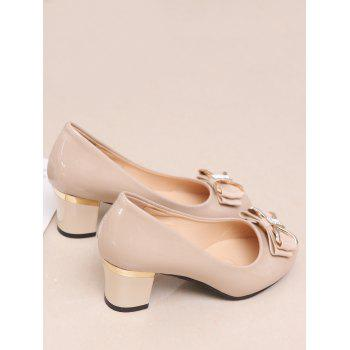 Plus Size Chunky Heel Bowknot Chic Prom Pumps - APRICOT 39