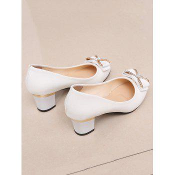 Plus Size Chunky Heel Bowknot Chic Prom Pumps - WHITE 40