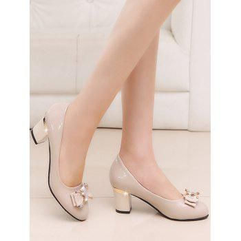 Plus Size Chunky Heel Bowknot Chic Prom Pumps - APRICOT 37