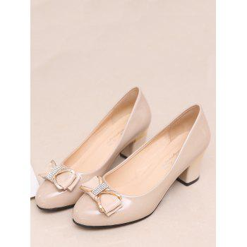 Plus Size Chunky Heel Bowknot Chic Prom Pumps - APRICOT 41