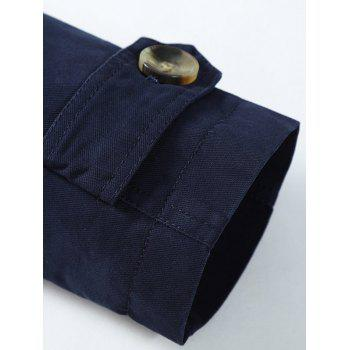 Button Up Turn Down Collar Epaulet Design Jacket - DEEP BLUE 2XL