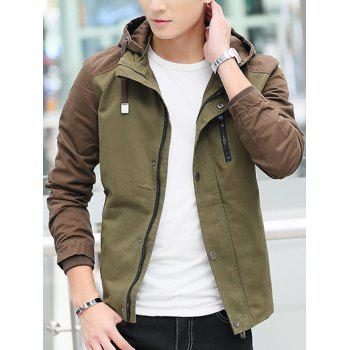 Contrast Color Zip Up Hooded Jacket - ARMY GREEN M