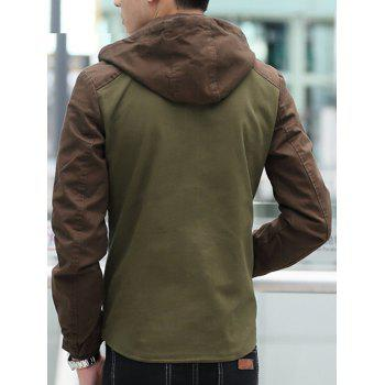 Contrast Color Zip Up Hooded Jacket - ARMY GREEN 2XL