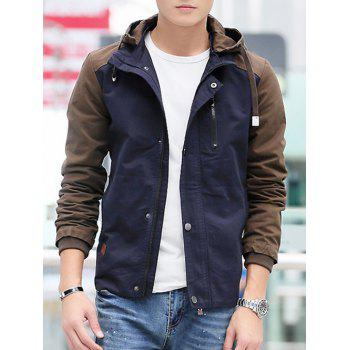 Contrast Color Zip Up Hooded Jacket - DEEP BLUE XL