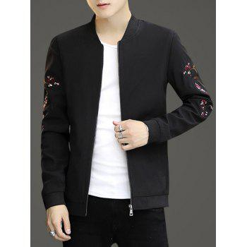 Embroidery Crane Zip Up Stand Collar Jacket - BLACK M