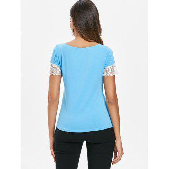 Lace Panel Short Sleeve Plain T-shirt - SKY BLUE 2XL