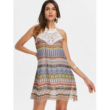 Crochet Panel Print Sleeveless Chiffon Tunic Dress - multicolor S