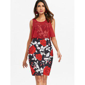 Sleeveless Floral Print Bodycon Dress - RED L