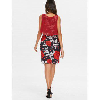 Sleeveless Floral Print Bodycon Dress - RED XL