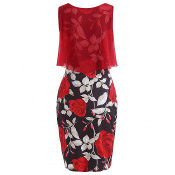 Sleeveless Floral Print Bodycon Dress - RED M