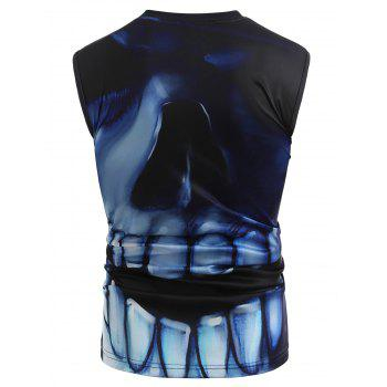 3D Skull Print Round Neck Tank Top - BLACK S