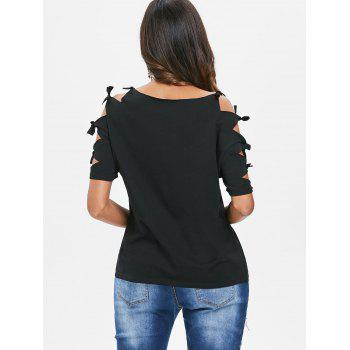 Ripped Sleeve Round Neck T-shirt - BLACK XL