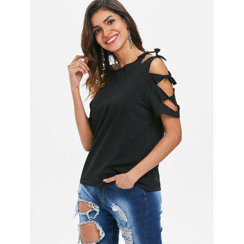 Ripped Sleeve Round Neck T-shirt - BLACK L