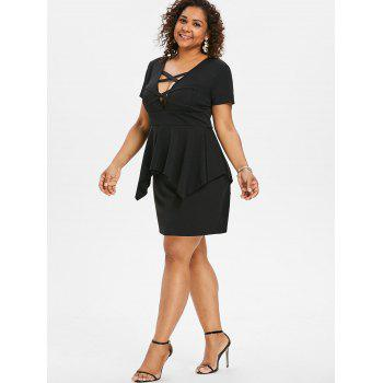Plus Size Short Sleeve Plunging Dress - BLACK L