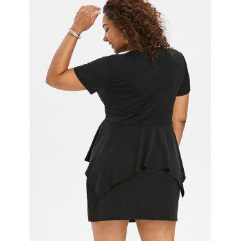 Plus Size Short Sleeve Plunging Dress - BLACK 5X