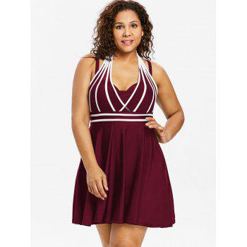 Plus Size Color Block Halter One Piece Swimwear - RED WINE 2X