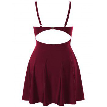 Plus Size Color Block Halter One Piece Swimwear - RED WINE 5X