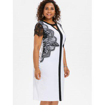 Lace Sleeve Plus Size Bodycon Dress - WHITE 4X