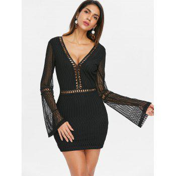 Flare Sleeve Backless Bodycon Dress - BLACK S