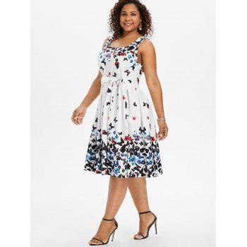 Plus Size Butterfly Print Sleeveless A Line Dress - WHITE L