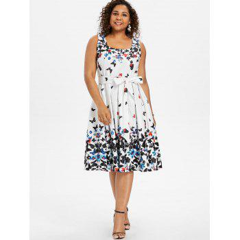 Plus Size Butterfly Print Sleeveless A Line Dress - WHITE 4X