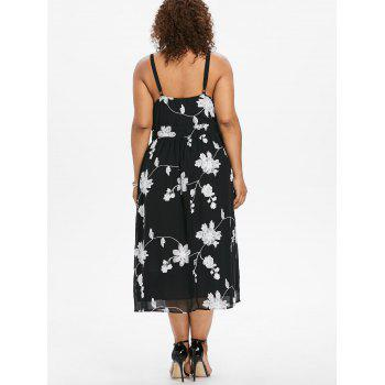 Plus Size High Waisted Floral Cami Dress - BLACK 5X