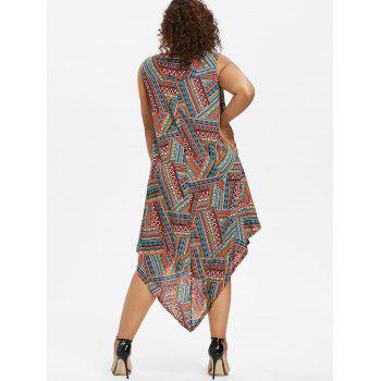 Ethnic Print Plus Size Sleeveless Asymmetrical Dress - multicolor 1X