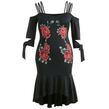 Plus Size Sweetheart Neck High Low Dress - BLACK 2X