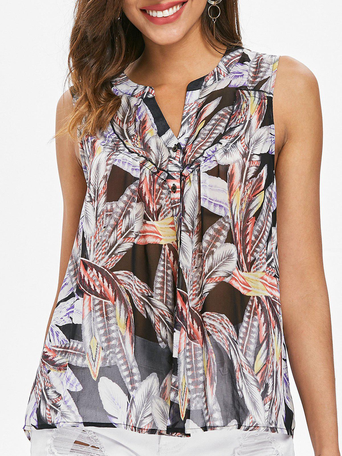 Feather Print Button Up Tank Top - multicolor XL
