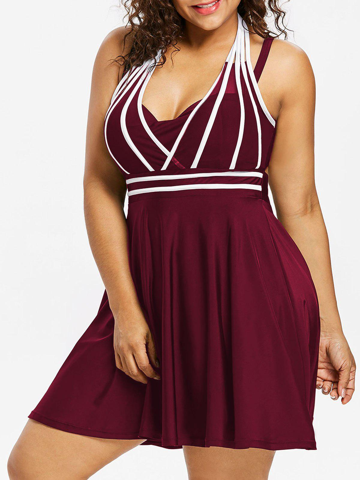 Plus Size Color Block Halter One Piece Swimwear - RED WINE 1X