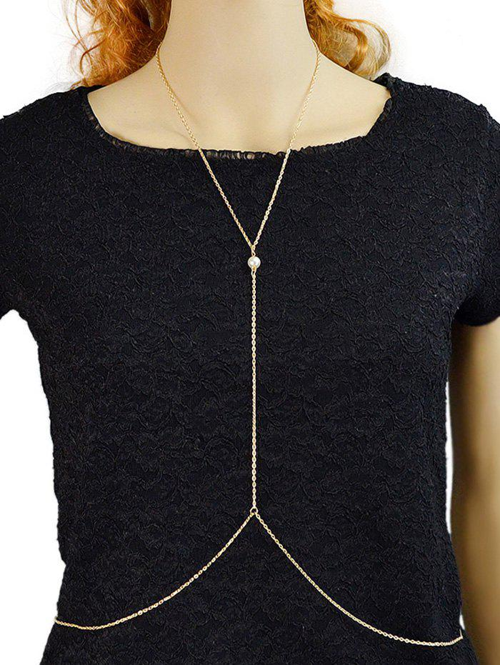 Faux Pearl Skinny Y Shaped Beach Chain - GOLD