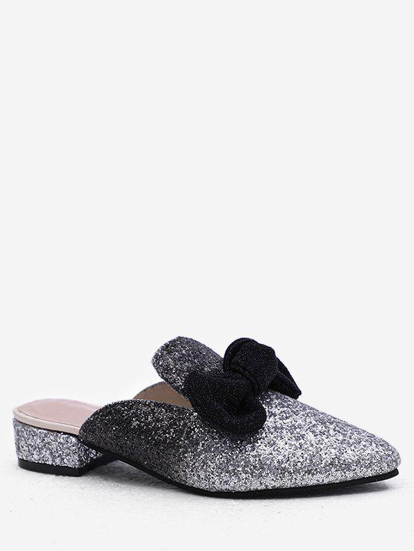 Plus Size Sequins Chunky Heel Pointed Toe Mules Shoes - BLACK 42
