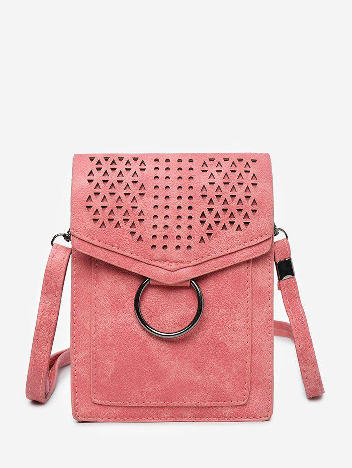 Hollow Out Metal Ring Practical Flap Crossbody Bag - RED VERTICAL