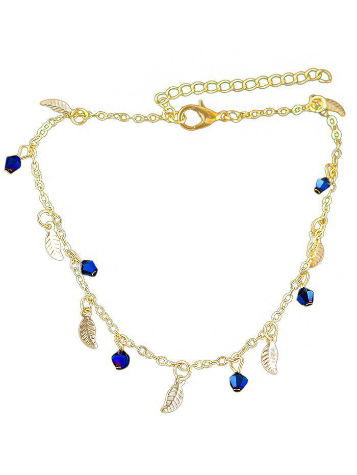 Leaves Shape Artificial Diamond Chain Anklet - GOLD
