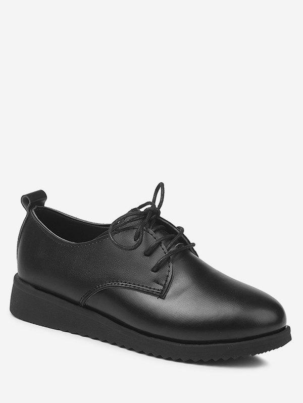 Plus Size Leisure Lace Up Solid Brogues Shoes - BLACK 40