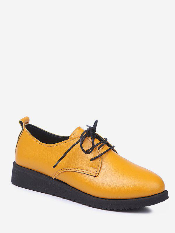 Plus Size Leisure Lace Up Solid Brogues Shoes - RUBBER DUCKY YELLOW 41