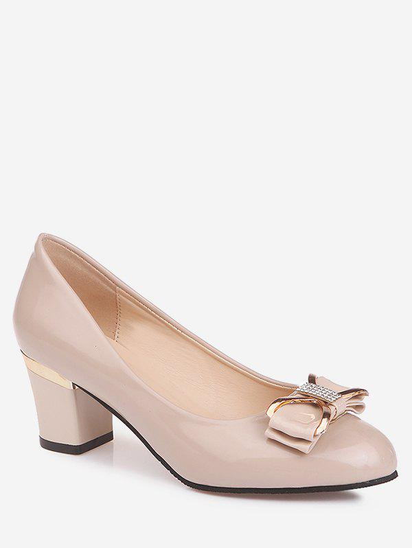 Plus Size Chunky Heel Bowknot Chic Prom Pumps - APRICOT 42