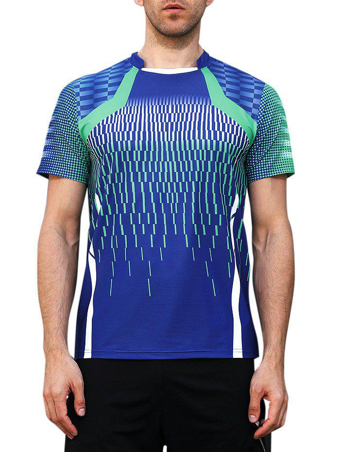 Quick Dry Geometrical Print Sports T-shirt - BLUEBERRY BLUE M