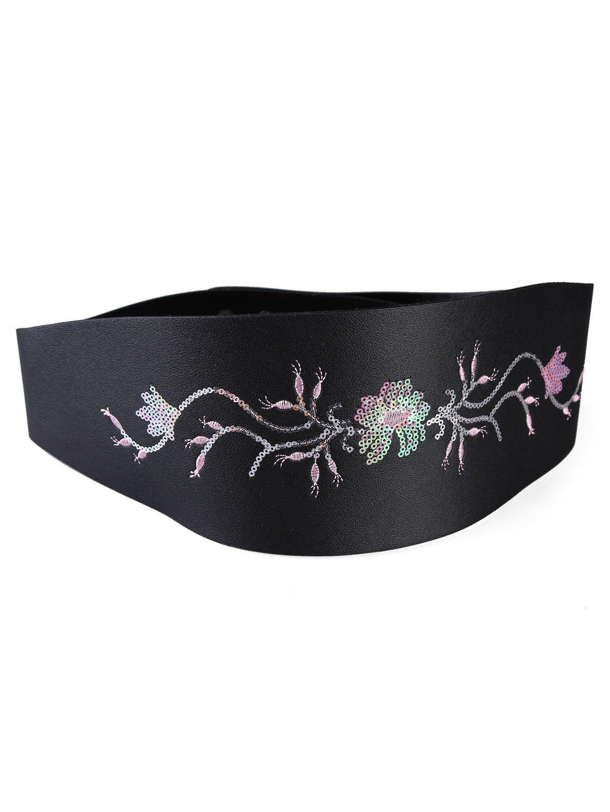 Retro Floral Sequins Decorative High Waist Belt - BLACK