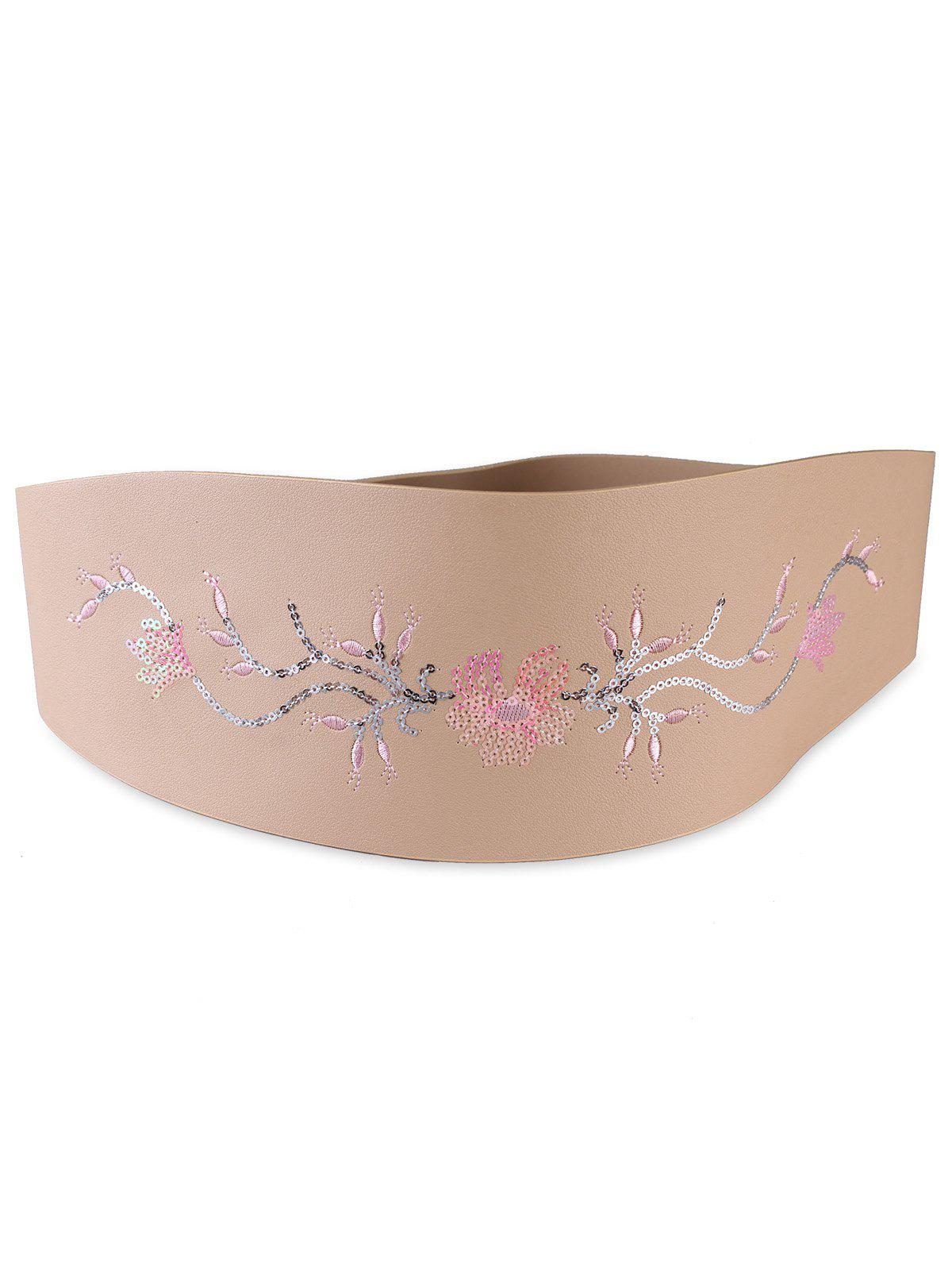 Retro Floral Sequins Decorative High Waist Belt - APRICOT