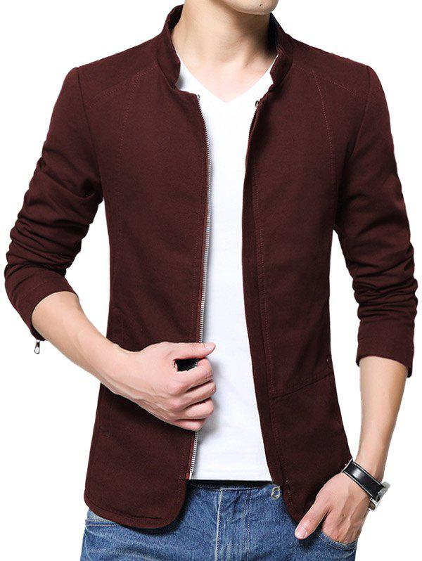 Solid Color Zip Up Stand Collar Jacket - RED WINE L