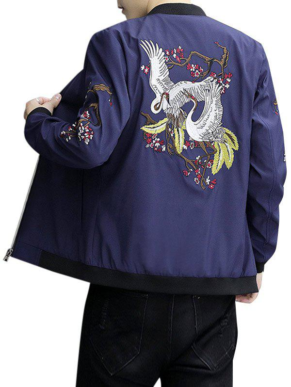 Embroidery Crane Zip Up Stand Collar Jacket - ROYAL BLUE XL